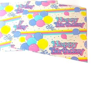 1980s Birthday Gift Wrapping Paper 2 Sheets